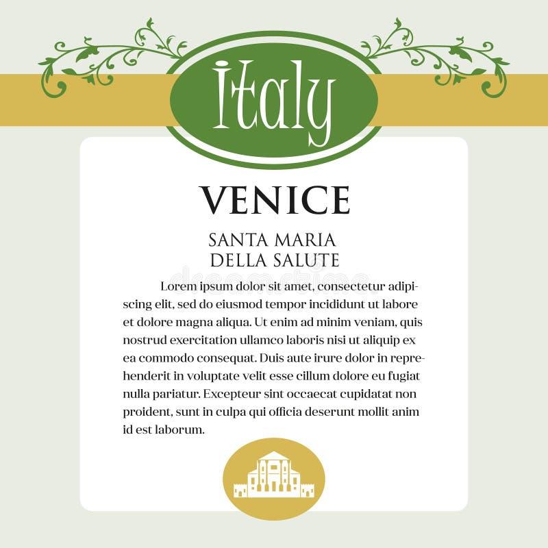 Página ou menu de Designe para produtos italianos Pode ser um guia com informação sobre a cidade italiana de Veneza ilustração royalty free