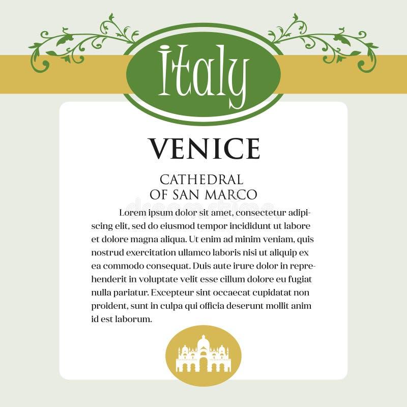 Página ou menu de Designe para produtos italianos Pode ser um guia com informação sobre a cidade italiana de Veneza ilustração do vetor