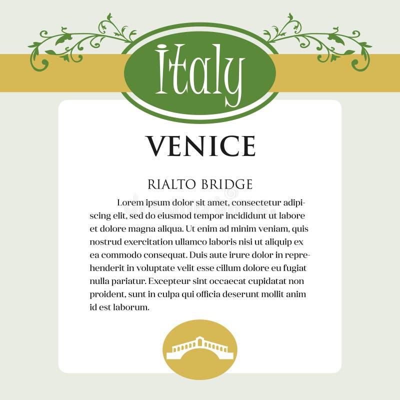Página ou menu de Designe para produtos italianos Pode ser um guia com informação sobre a cidade italiana de Veneza Ponte de Rial ilustração stock
