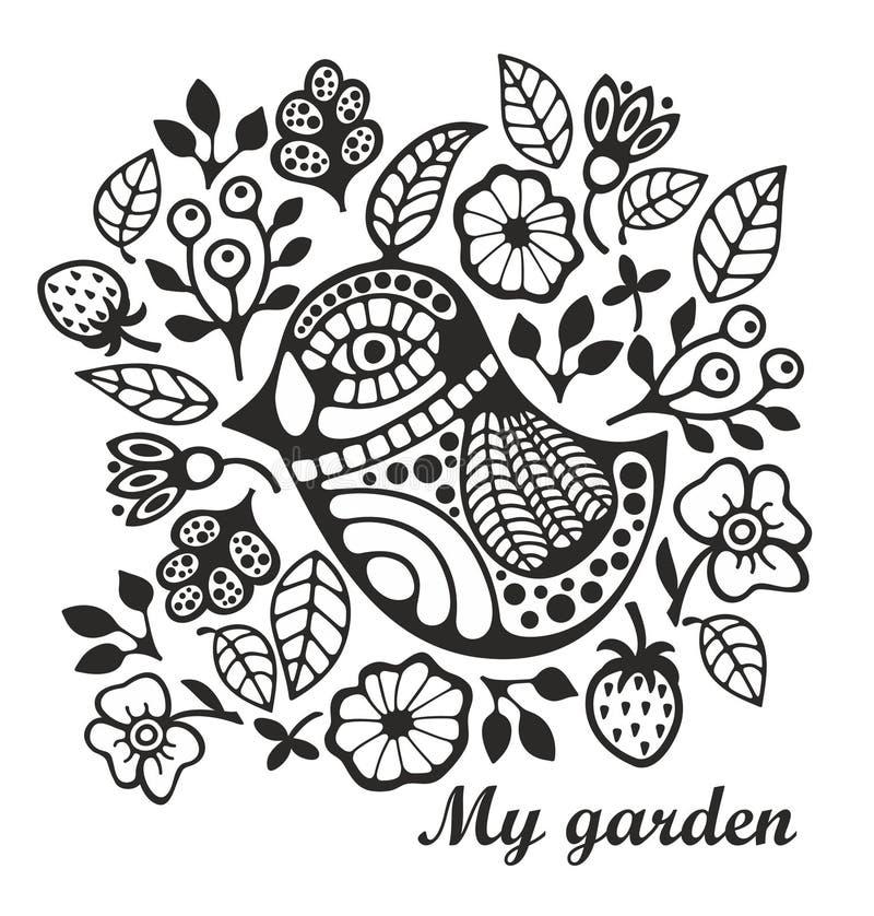 Página Para Colorear Con El Pájaro Y Las Flores Ilustración del ...