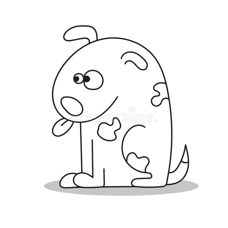 Página para crianças, cão da coloração Ilustração do estilo dos desenhos animados ilustração stock