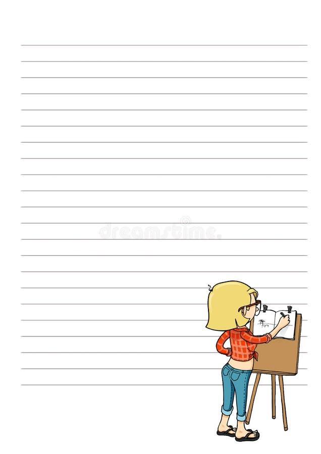 Página para las notas con el personaje de dibujos animados Espacio en blanco diario, semanal, mensual del planificador Plantilla  ilustración del vector