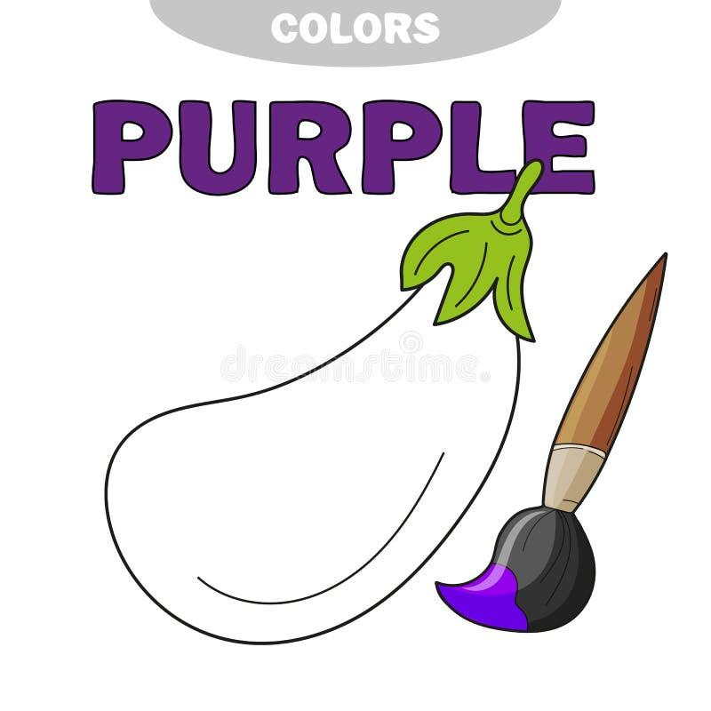 Página para los niños con la berenjena, bosquejo del libro de colorear Educación preescolar stock de ilustración