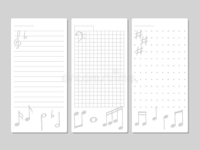Página para notas com elementos musicais ilustração do vetor