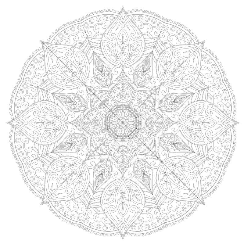 Página para o livro para colorir Teste padrão redondo do laço mandala ilustração royalty free