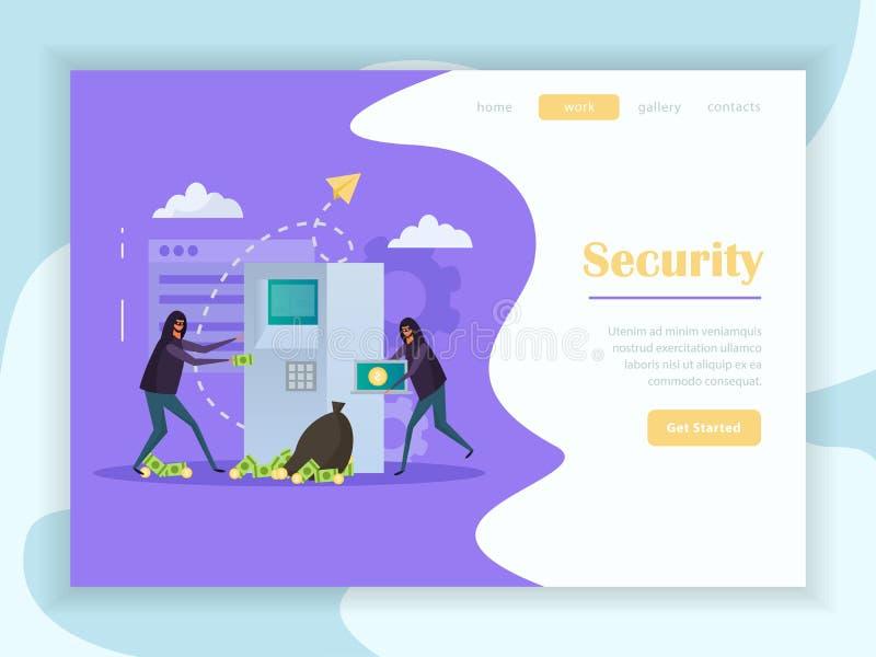 Página plana del aterrizaje de la seguridad cibernética stock de ilustración