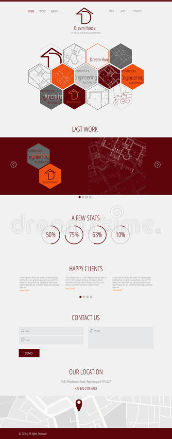 Página plana del aterrizaje del web de la inmobiliaria de la casa ideal del diseño D stock de ilustración