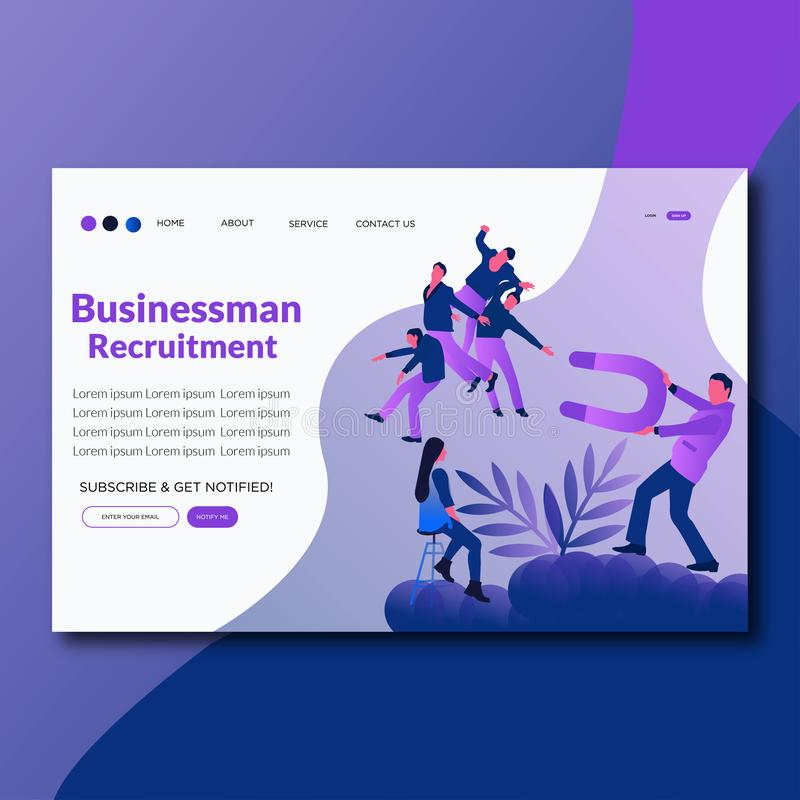 Página plana del aterrizaje del reclutamiento del hombre de negocios del ejemplo del vector del reclutamiento del hombre de negoc libre illustration