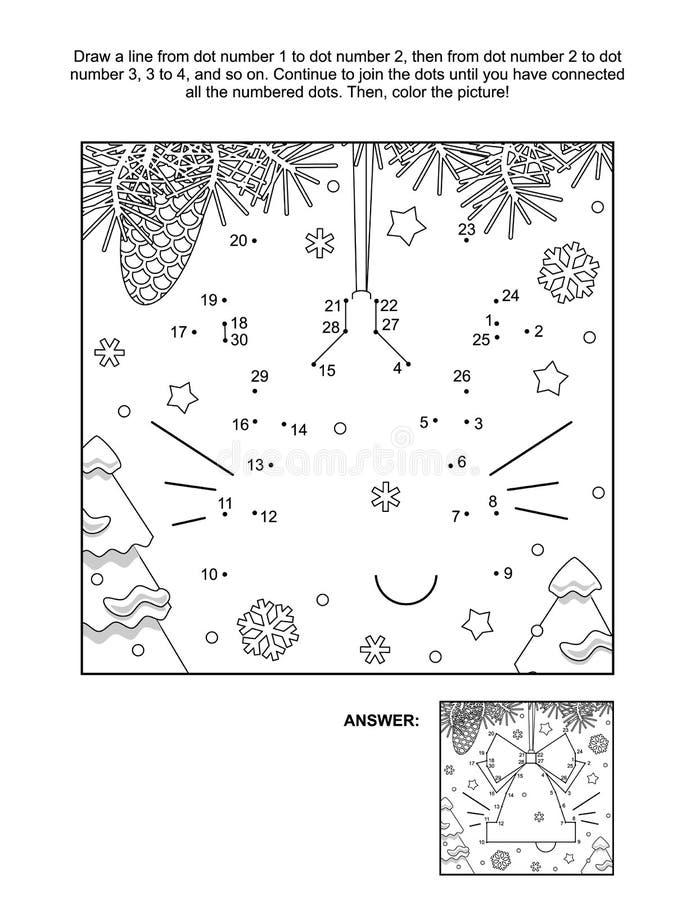 Página ponto-a-ponto e colorida - ornamento do sino da árvore de natal ilustração royalty free