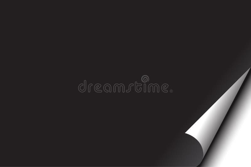 Página preta em branco com onda de canto ilustração do vetor