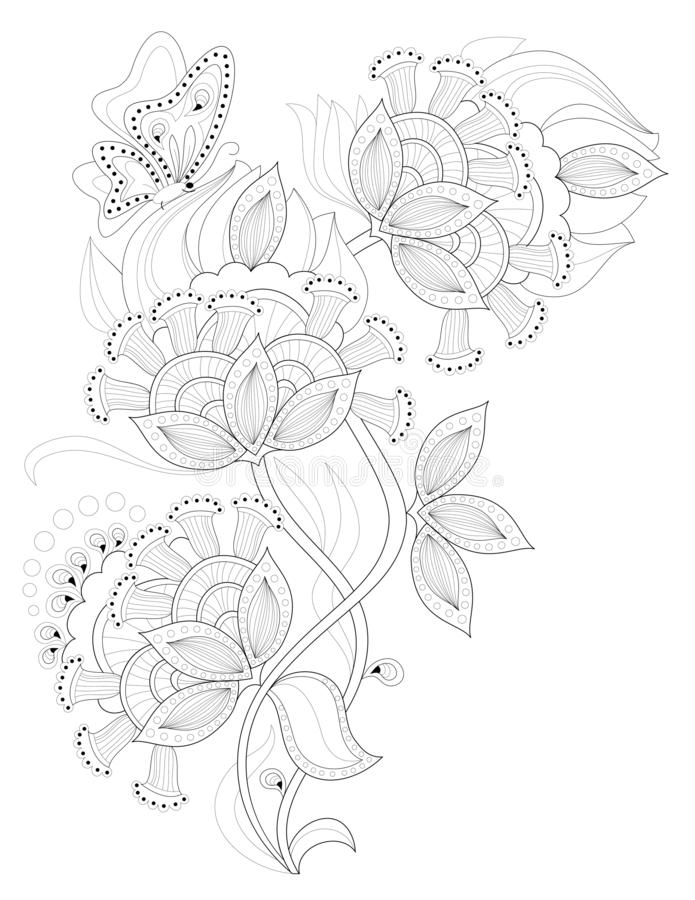 Pagina Preto E Branco Para Colorir Desenho Da Fantasia De Flores