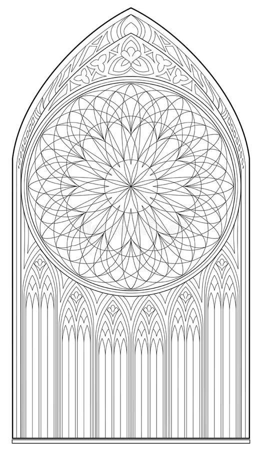Pagina Preto E Branco Para Colorir O Desenho Da Janela Gotico