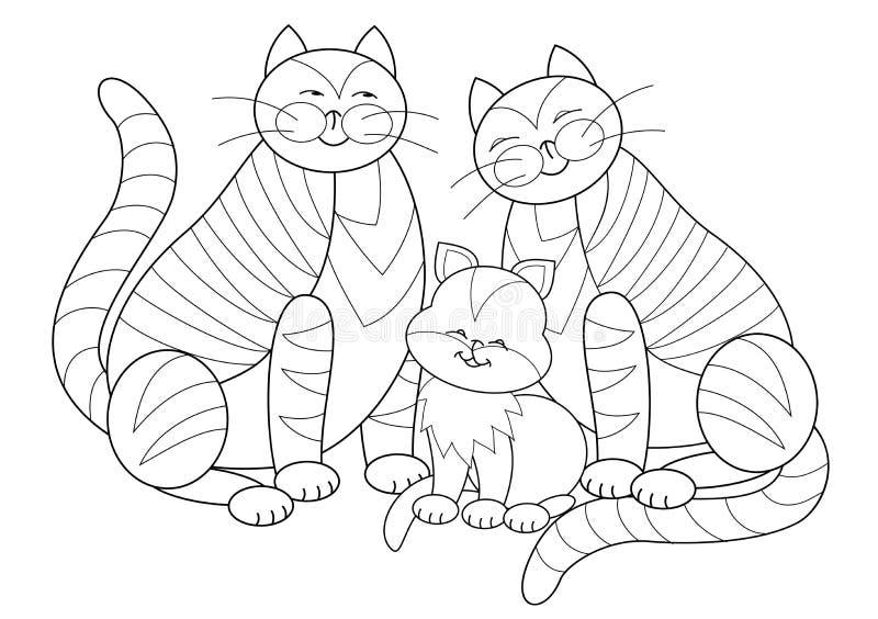 Página preto e branco para o livro para colorir das crianças Ilustração da família de gatos feliz Folha para crianças pequenas Ha ilustração royalty free