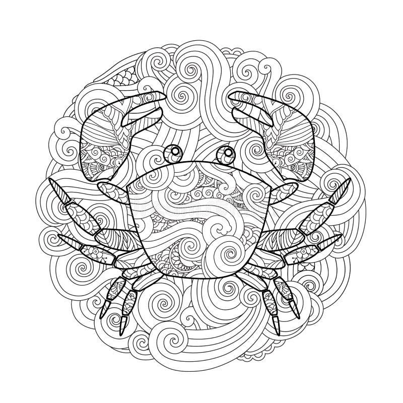 Página Que Colorea Cangrejo Adornado En El Círculo, Mandala Aislada ...