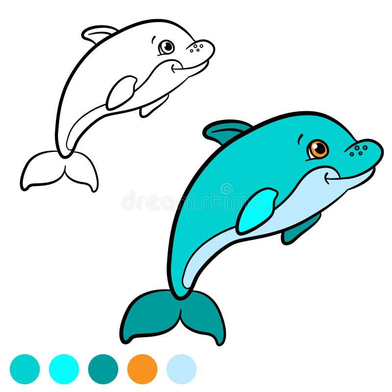 Página Que Colorea Coloréeme: Delfín Pequeñas Nadadas Lindas Del ...