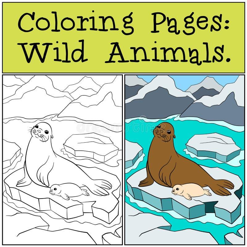 Página que colorea con ejemplo Sello de la madre con su bebé lindo ilustración del vector