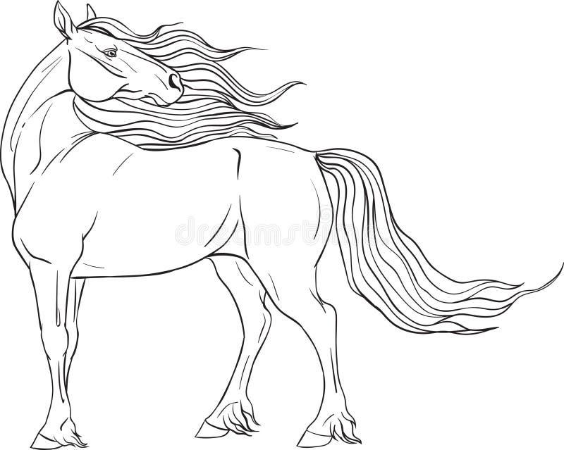 Página que colorea con el caballo stock de ilustración