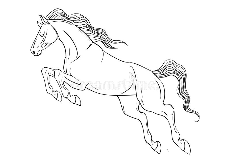 Página que colorea con el caballo ilustración del vector