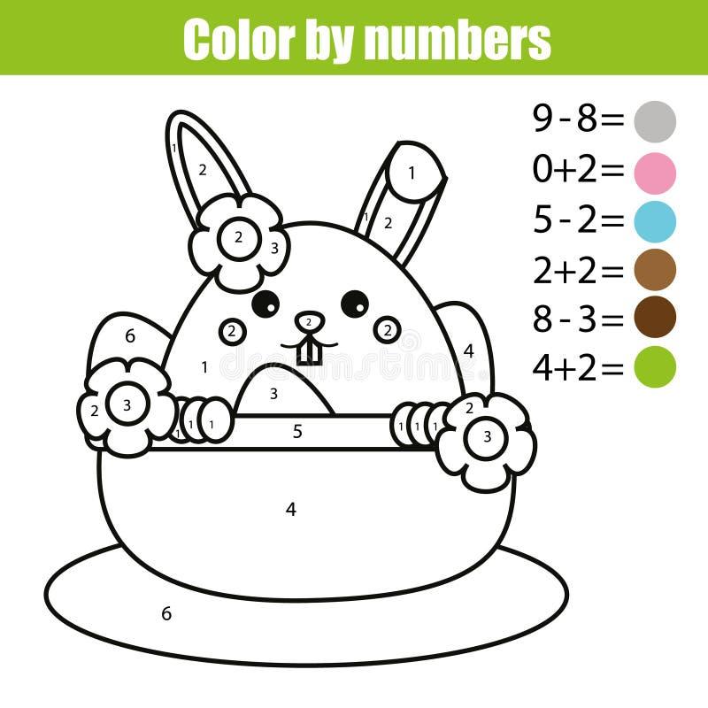 Página que colorea con el carácter del conejito de pascua Coloree por el juego educativo de los niños de la matemáticas de los nú stock de ilustración