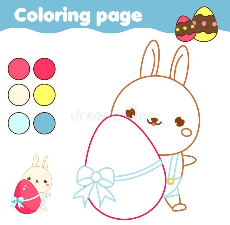 Página que colorea con el conejito de pascua de la historieta El dibujo embroma actividad Diversión imprimible para los niños y l ilustración del vector