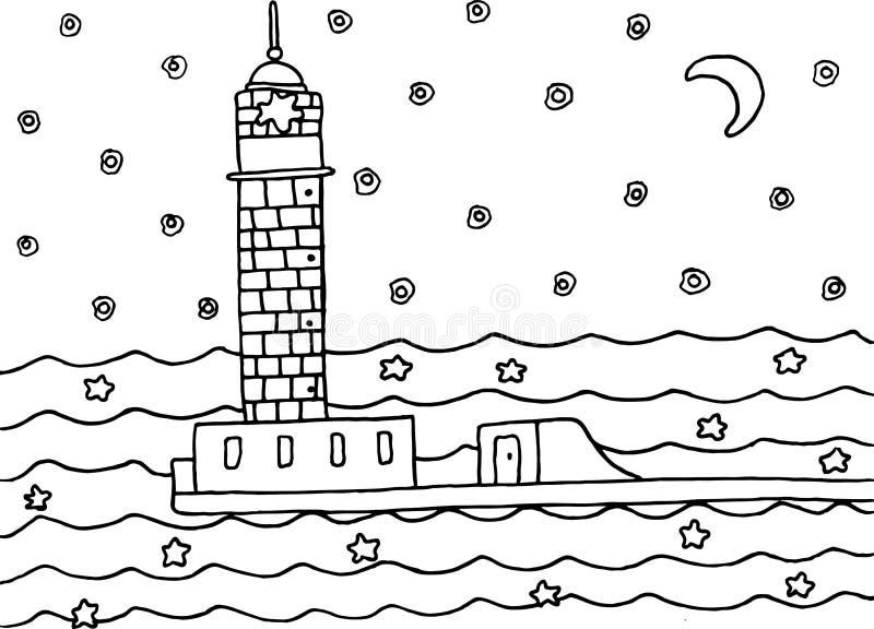 Página Que Colorea Con El Faro En El Mar De La Noche Ilustración del ...