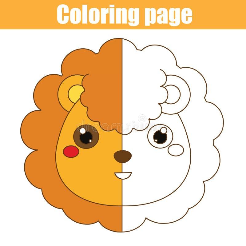 Página que colorea con el león El dibujo embroma el juego Actividad imprimible stock de ilustración