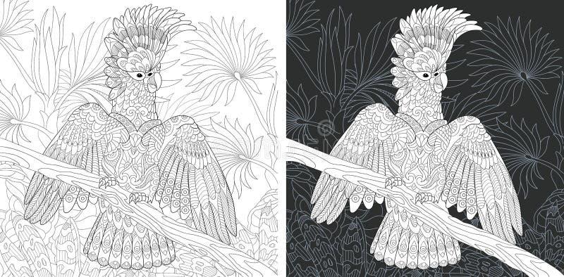 Página que colorea con el loro de cacatúa ilustración del vector