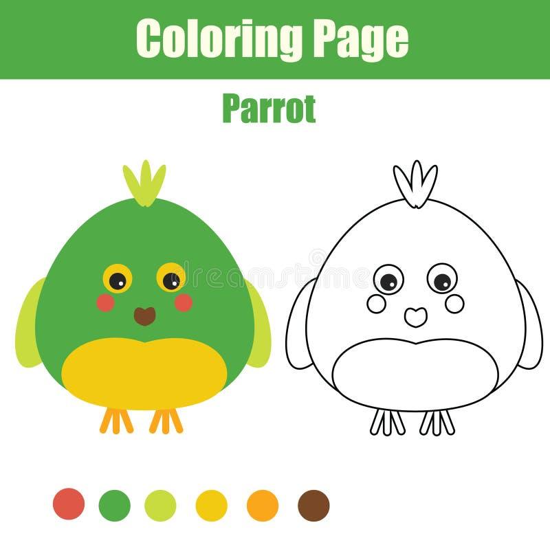Página Que Colorea Con El Loro El Juego Educativo De Los Niños ...
