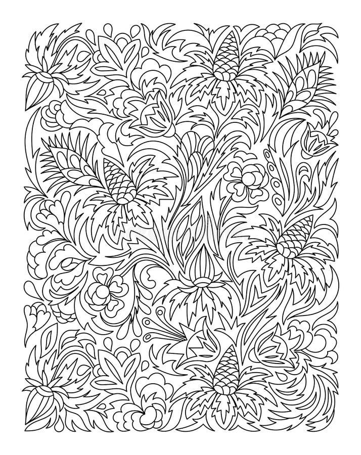 Página que colorea con el modelo de flores del vintage libre illustration