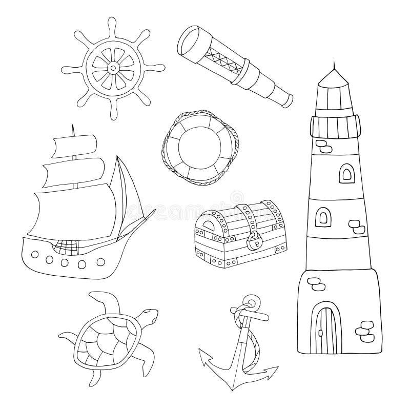 Página que colorea con el sistema del mar stock de ilustración
