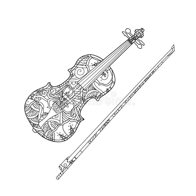 Página que colorea con el violín ornamental y arco de violín aislados en el fondo blanco fotografía de archivo