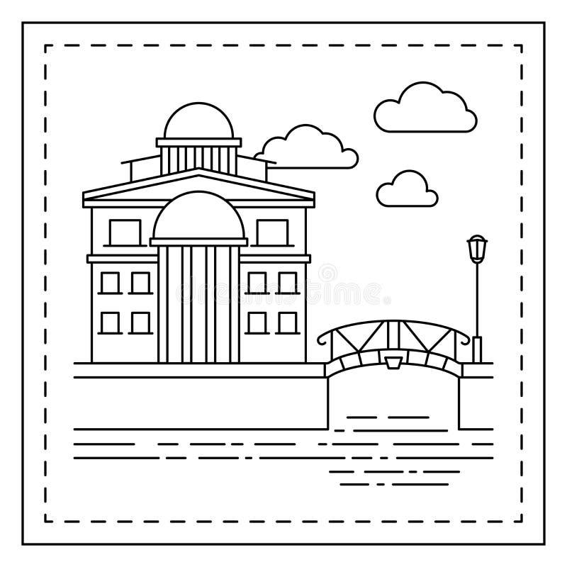 Página que colorea con la casa y el puente libre illustration
