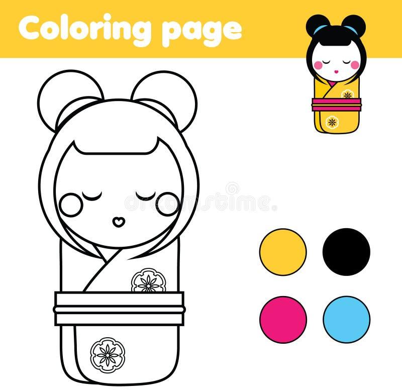Página Que Colorea Con La Muñeca Japonesa Del Kokeshi El Dibujo ...