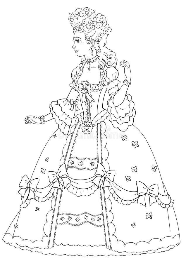 Página que colorea con la princesa ilustración del vector