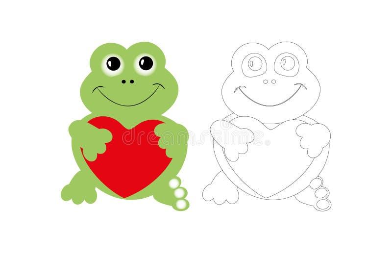 Página que colorea de la rana linda con la muestra colorida, hoja de trabajo imprimible para que preescolar mejore habilidades qu libre illustration