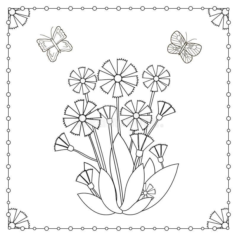 Página que colorea de las flores y de las mariposas libre illustration
