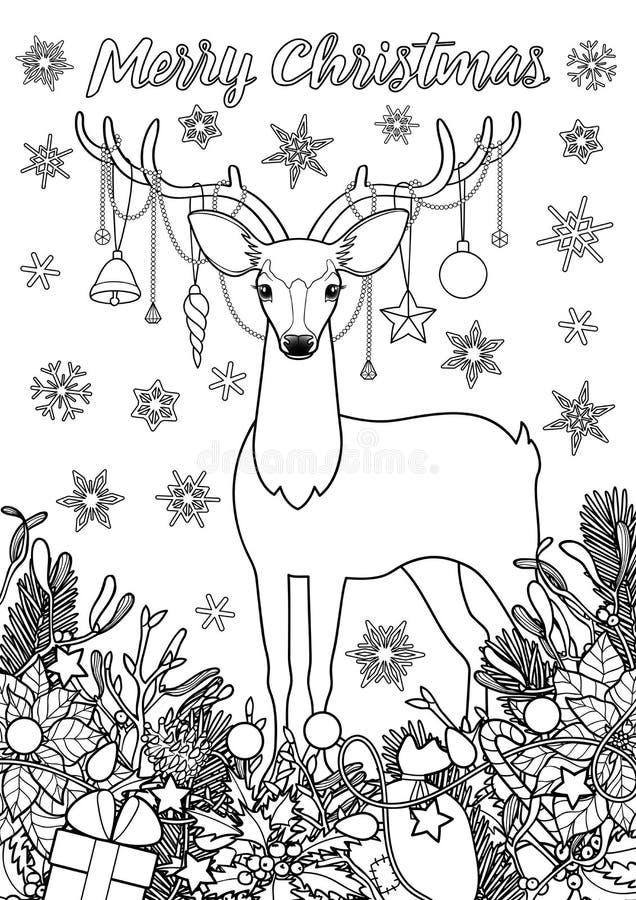 Página que colorea de saludo de la Feliz Navidad con los ciervos ilustración del vector