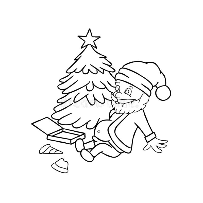 Página que colorea de Santa Claus, ejemplos libre illustration