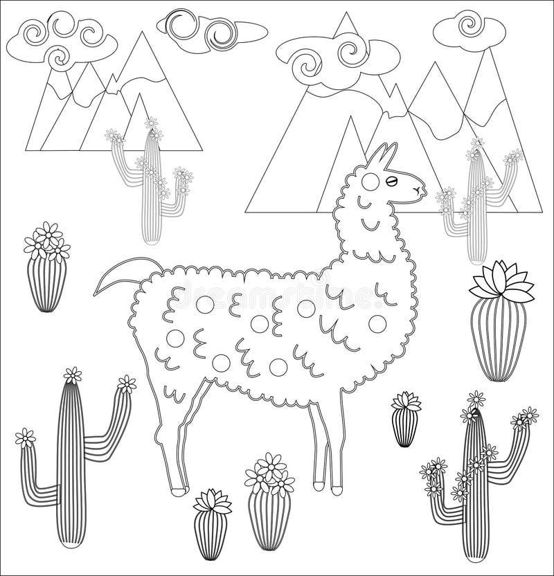 Página que colorea del lama de la historieta ejemplo, libro de colorear para los niños stock de ilustración