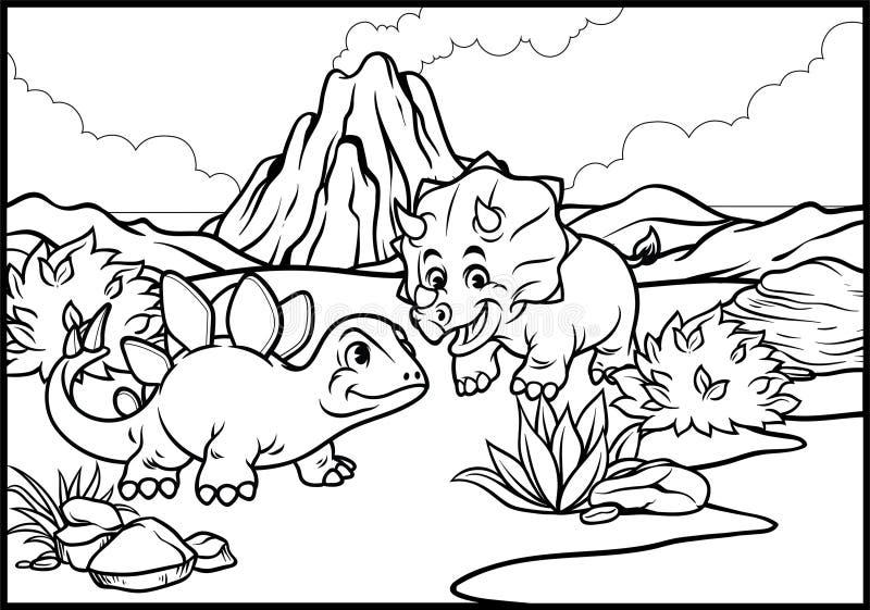 Página que colorea del triceratops y del stegosaurus de la historieta ilustración del vector