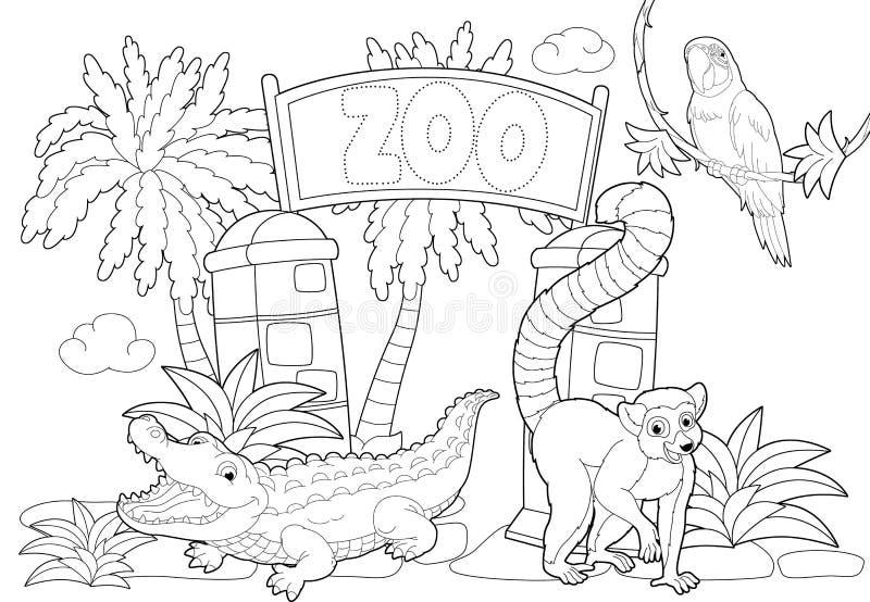 Lujo Escena Del Zoológico Para Colorear Bandera - Páginas Para ...