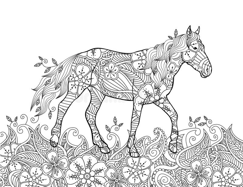 Página que colorea en estilo inspirado zentangle del garabato Caballo corriente en prado floreciente libre illustration
