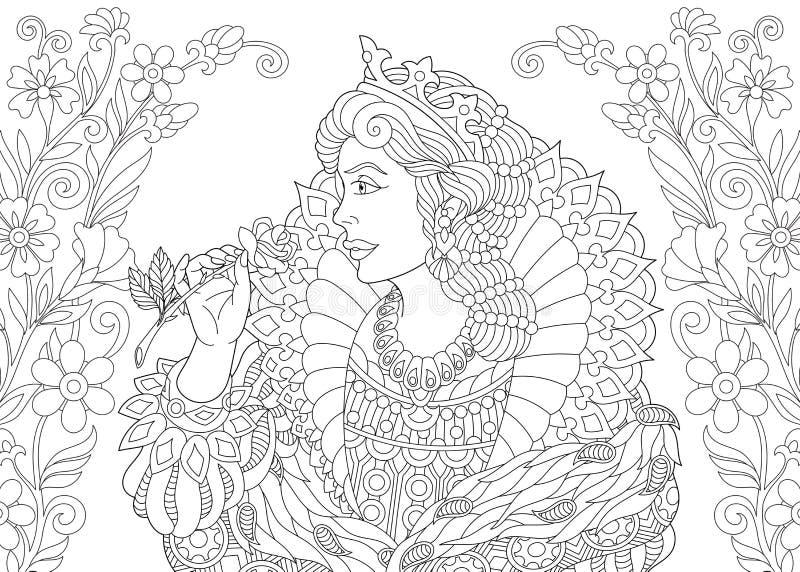 Página que colorea floral de la reina de Zentangle stock de ilustración