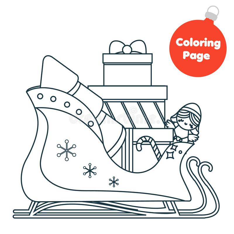Página que colorea Juego educativo de los niños Trineo de Papá Noel del color Página imprimible de la actividad para los niños Te ilustración del vector
