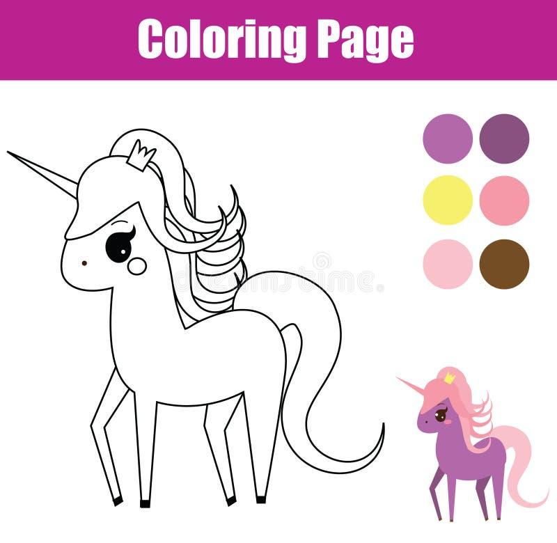 Página que colorea Juego educativo de los niños Unicornio, potro de hadas El dibujo embroma actividad imprimible ilustración del vector