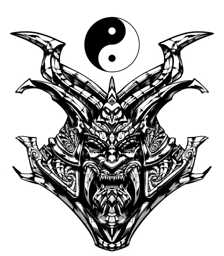 Página que colorea, máscara siniestra del samurai stock de ilustración