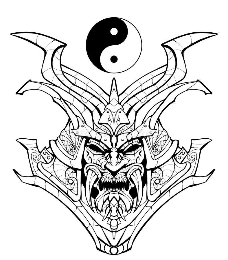Página que colorea, máscara siniestra del samurai ilustración del vector