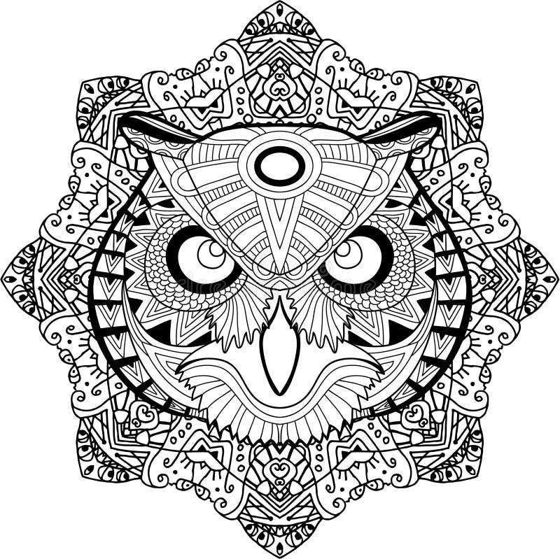 Página que colorea para los adultos Búho severo en un fondo de un modelo circular de la mandala ilustración del vector