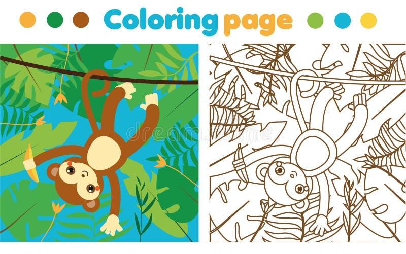 Página Que Colorea Para Los Niños Mono En Selva El Dibujo Embroma ...