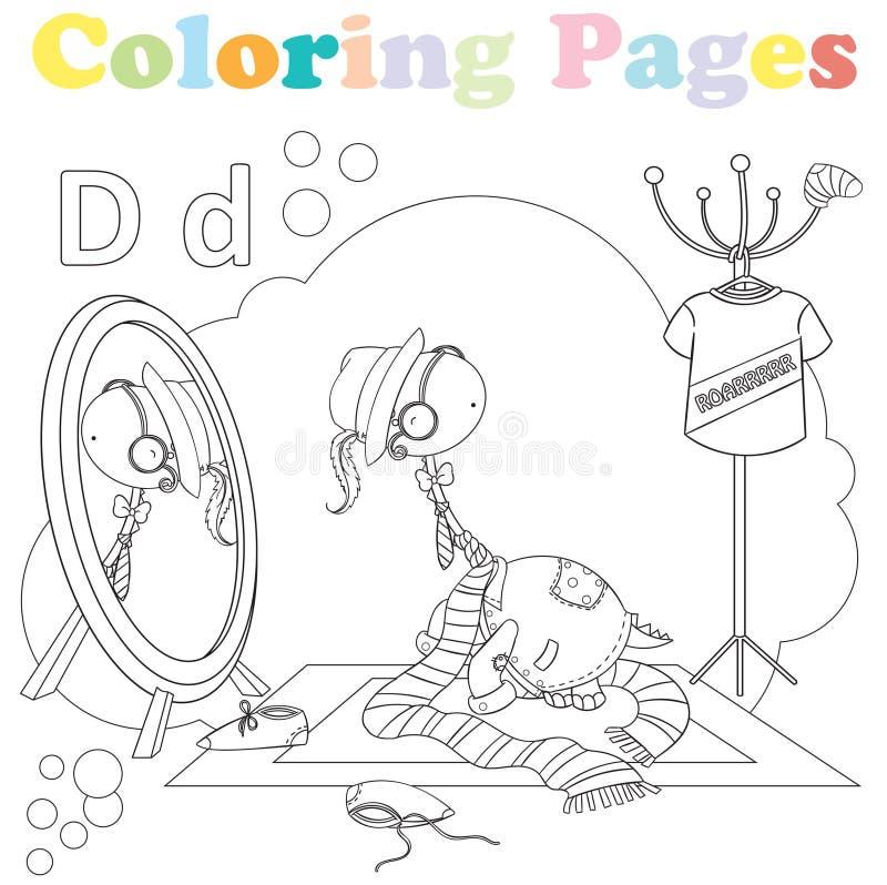 Página que colorea para los niños, sistema del alfabeto, letra D imagenes de archivo